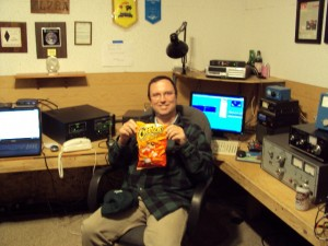 Trey, K5KO. Displaying contester's snack food.